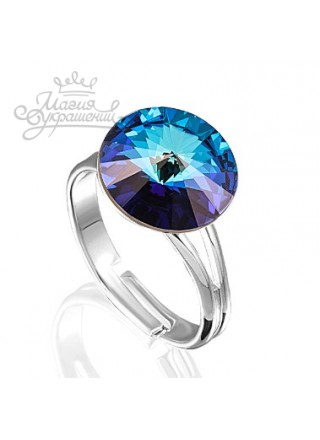 Кольцо с синим кристаллом Swarovski Bermuda Blue