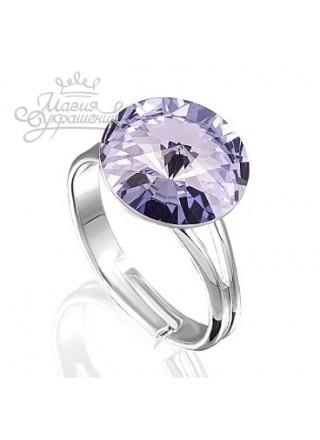 Кольцо с сиреневым кристаллом Swarovski