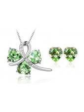 Комплект с зелеными кристаллами Сваровски