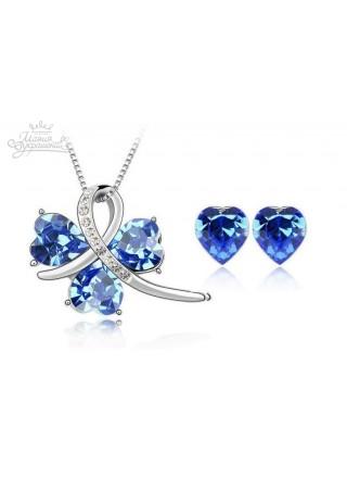 Комплект с синими кристаллами Сваровски