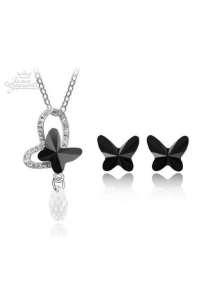 """Комплект """"Бабочки"""" с черными кристаллами Swarovski"""