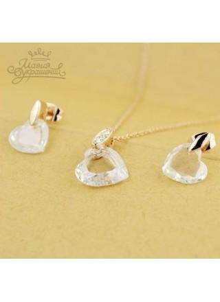 Комплект Сердечки с кристаллами Сваровски