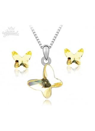 """Комплект """"Летящие бабочки"""" с кристаллами Swarovski"""
