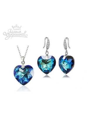 Комплект Сердца с кристаллами Swarovski
