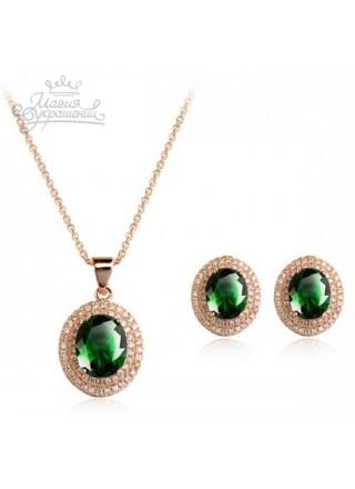 """Комплект """"Чарующий"""" с зелеными кристаллами  Swarovski"""