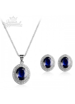 "Комплект ""Чарующий"" с синими кристаллами  Swarovski"