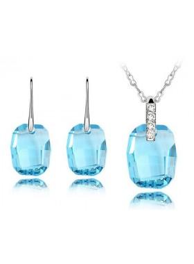 Комплект с крупными голубыми кристаллами Swarovski Aquamarine