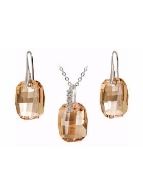 Комплект с крупными кристаллами Swarovski Golden Shadow