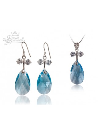 Комплект c голубыми кристаллами Swarovski Aquamarine