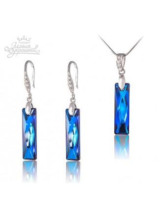 Комплект c удлиненными кристаллами Swarovski Bermuda Blue