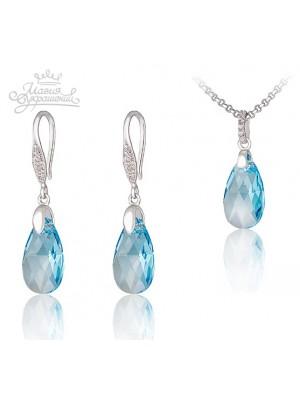 Комплект Полярное сияние голубой кристалл Swarovski medium