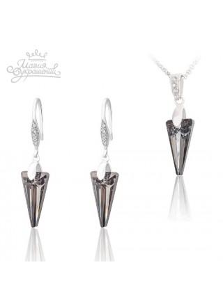 Комплект Серебряные стрелы со Swarovski Silver Night