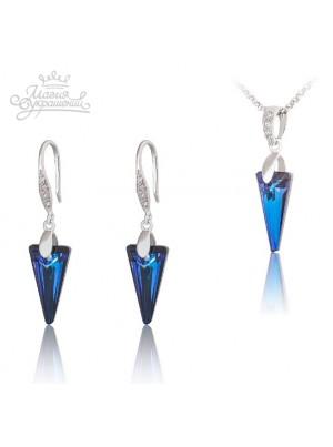 Комплект Серебряные стрелы со Swarovski Bermuda Blue