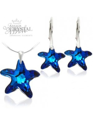 Комплект Звездный с синими кристаллами Bermuda Blue
