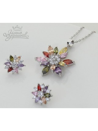 Комплект Фианитовые разноцветные цветы