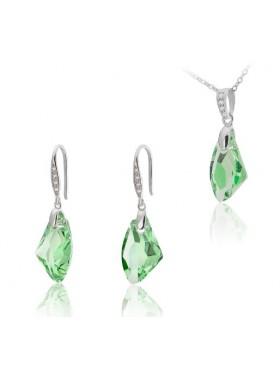 Комплект с зелеными кристаллами Galaktic Vertical Swarovski