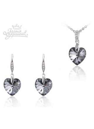 Набор Сердечки с кристаллами Swarovski  Silver Night