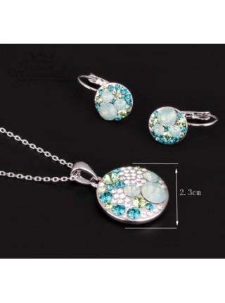 Комплект Серебряная Лагуна с бирюзовыми кристаллами Сваровски