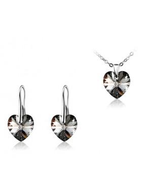 Комплект Темное Сердце с кристаллом Swarovski Silver Night