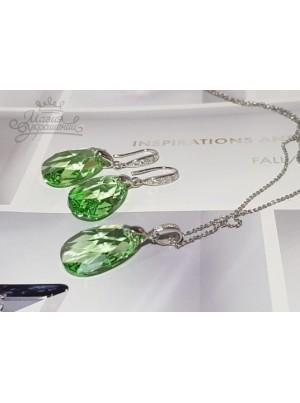 Комплект с зелеными Swarovski Peridot
