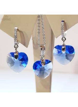 Комплект с кристаллом Сердечко с небесными Swarovski
