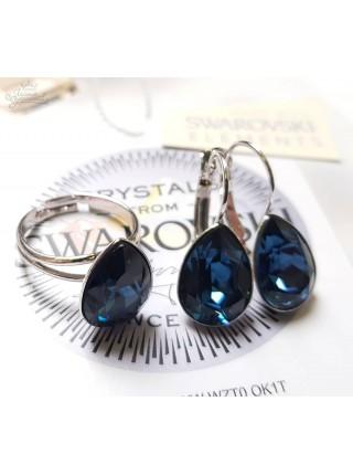 Комплект Капля с синими Swarovski