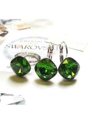 Комплект Ромбы с зелеными Swarovski