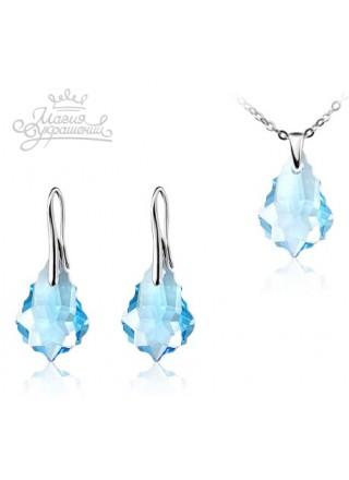 Комплект Барокко Barocco с голубыми кристаллами Swarovski