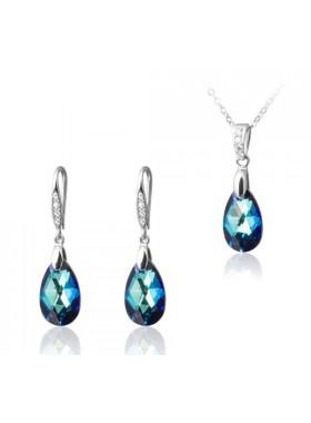 Комплект Полярное сияние синий кристалл Swarovski medium Bermuda Blue
