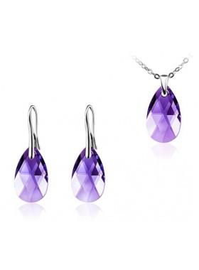 Комплект с фиолетовыми кристаллами Swarovski Tanzanite