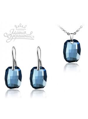 Комплект с темно-синими кристаллами Denim