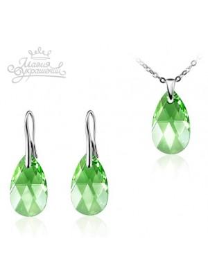 Комплект с зелеными кристаллами Swarovski Peridot