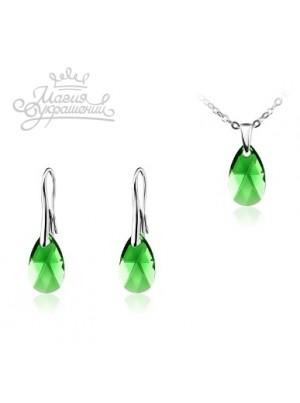 Комплект со средними кристаллами Swarovski Dark Moss Green