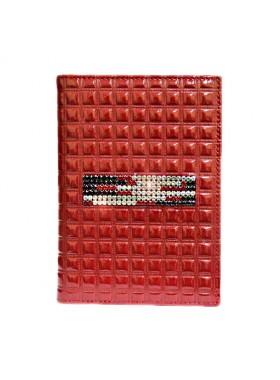 """Обложка для паспорта стильная """"Knicksen"""" со Swarovski из кожи красного цвета"""