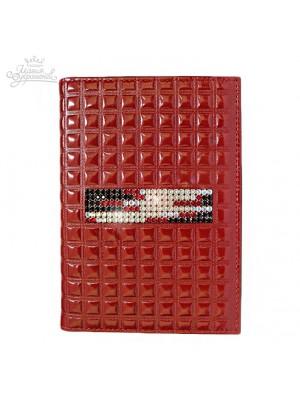 """Бумажник водителя стильный """"Knicksen"""" со Swarovski из красной кожи"""