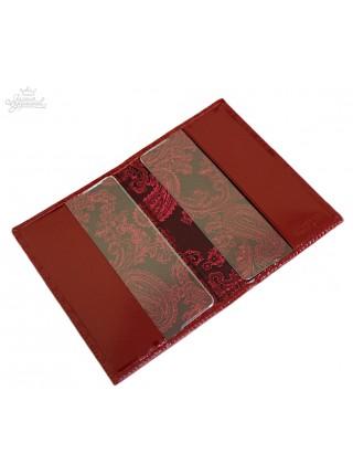 """Обложка для паспорта """"Knicksen"""" со Swarovski из красной теснёной кожи"""