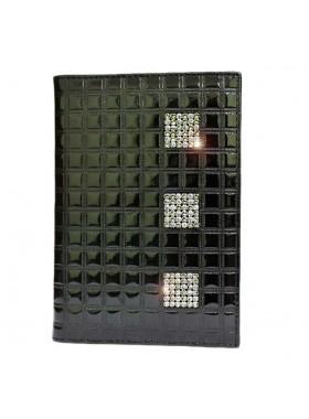 """Обложка для паспорта """"Knicksen"""" со Swarovski из черной теснёной кожи"""