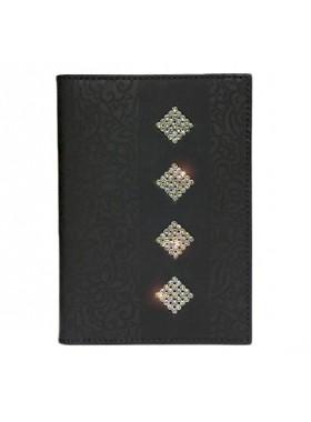 Обложка для паспорта Knicksen из черной кожи со Swarovski