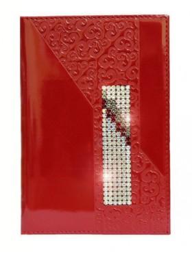 """Обложка для паспорта """"Knicksen"""" из красной тисненой кожи со Swarovski"""