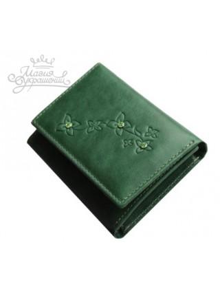 Кошелек зеленый кожаный со Сваровски