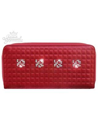 Кошелек большой кожаный красный кошелек портмоне со Swarovski