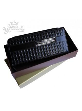 Кошелек большой кожаный черный кошелек портмоне со Swarovski