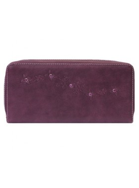 Кошелек фиолетовый кожаный со Сваровски на молнии