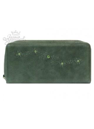 Кошелек зеленый кожаный со Сваровски на молнии
