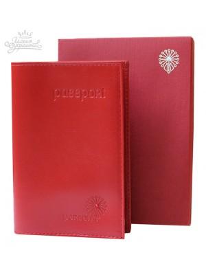 Обложка для паспорта из красной кожи с кристаллом Swarovski