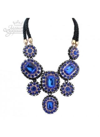 Колье Фантазия с синими кристаллами