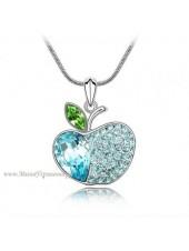 Подвеска Яблоко с голубыми кристаллами