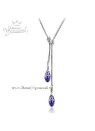 Подвеска Нежный фиолет с кристаллом Swarovski