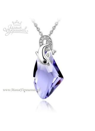 Подвеска Дельфин с фиолетовым кристаллом Tanzanite