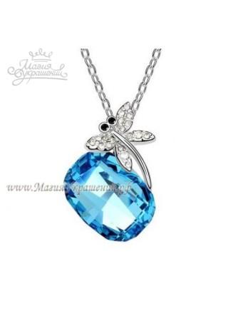 Подвеска Стрекоза на голубом кристалле